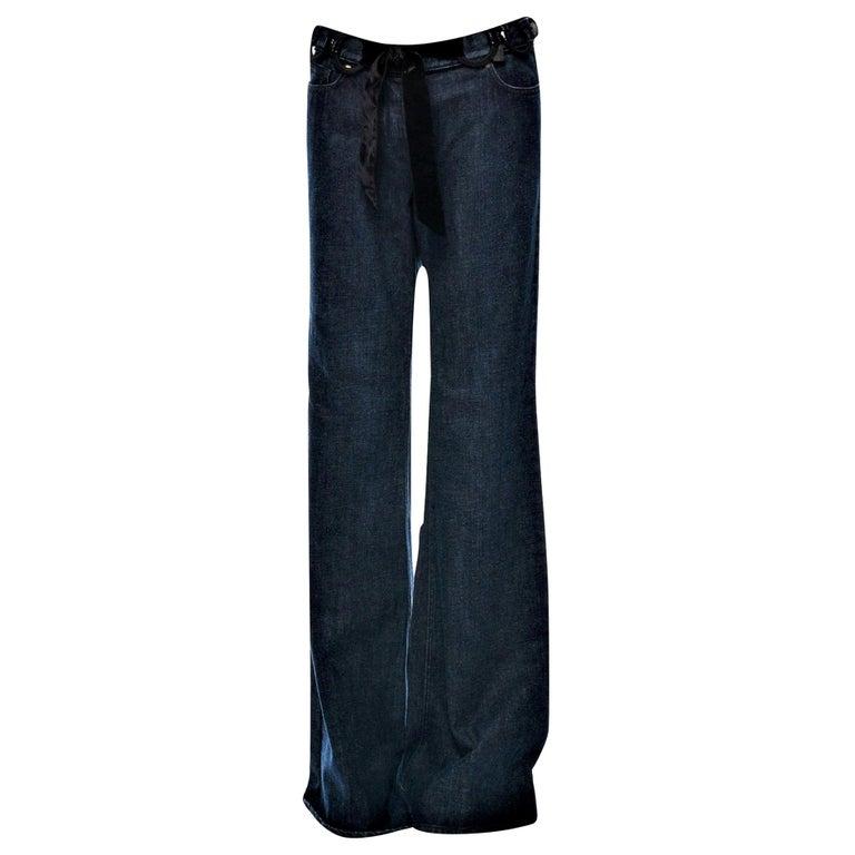 New Yves Saint Laurent YSL S/S 2005 Bell Bottom Jeans Pants Sz 42  For Sale