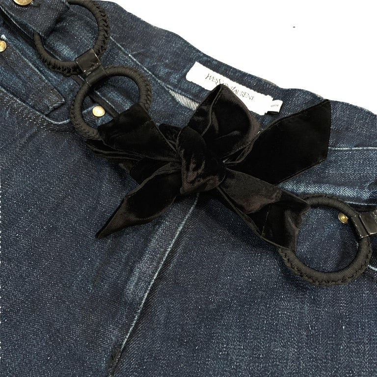 Stefano Pilati for Yves Saint Laurent Debut Collection S/S 2005 $795 Brand New W/ Tags Denim Bell Bottom Jeans Detachable Velvet Belt Velvet Piping on the Pockets & Waist YSL Logo at Back Pocket Size IT 42  Waist: 33