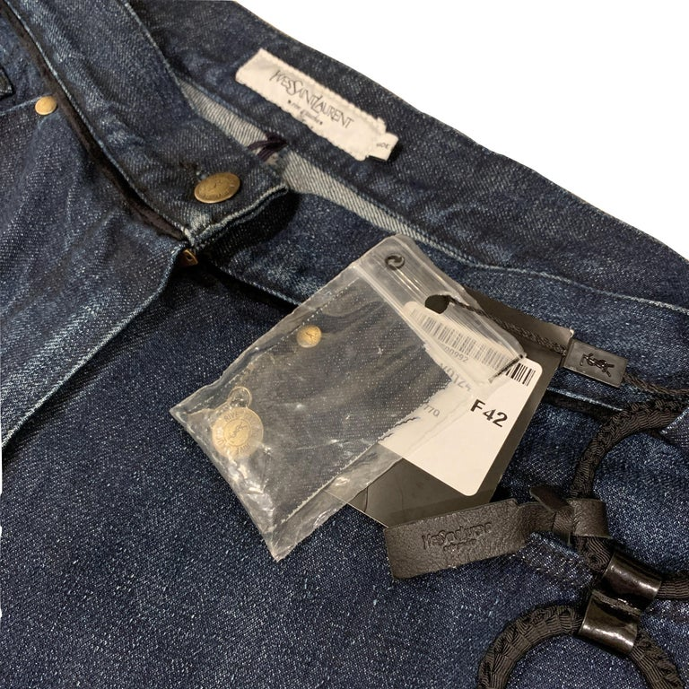 Black New Yves Saint Laurent YSL S/S 2005 Bell Bottom Jeans Pants Sz 42 $795 For Sale