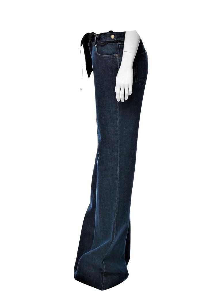 Women's New Yves Saint Laurent YSL S/S 2005 Bell Bottom Jeans Pants Sz 42 $795 For Sale