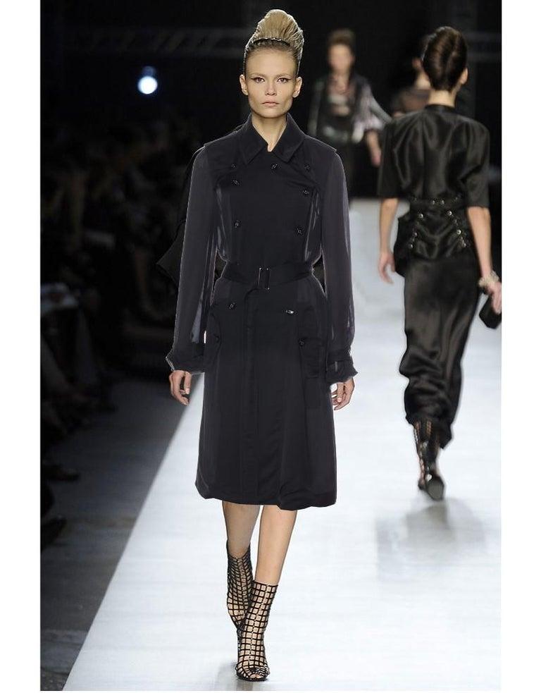 Women's New Yves Saint Laurent YSL S/S 2009 Sheer Trench Coat Jacket Sz 38 For Sale