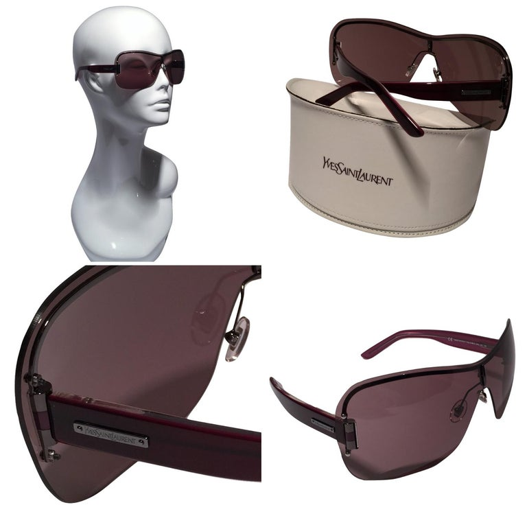 Yves Saint Laurent Sunglasses Brand New *Stunning in Plum * Wraparound Styling * Super Lightweight * Gold Hardware * Made in Italy * 100% UVA/UVB Protection * Comes with Case & Tag