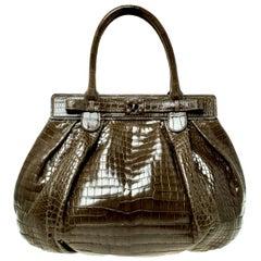 NEW Zagliani XL Exotic Crocodile Shoulder Bag Tote Hobo Purse