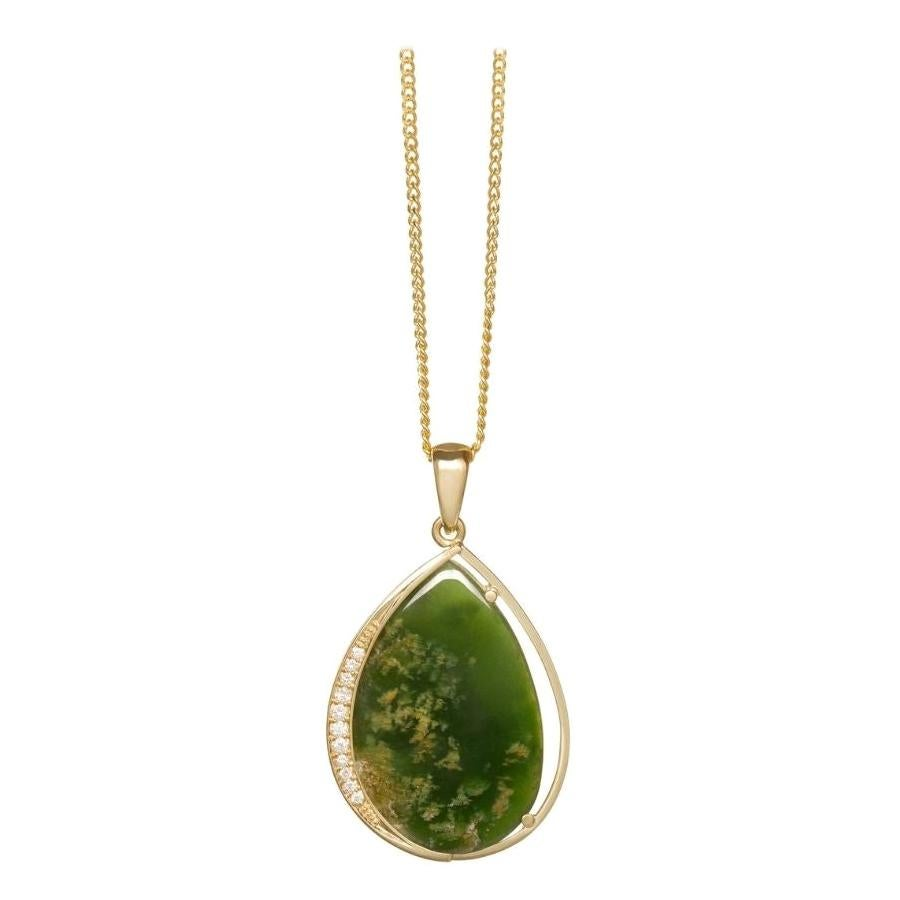 New Zealand Flower Jade & Diamond Teardrop Necklace