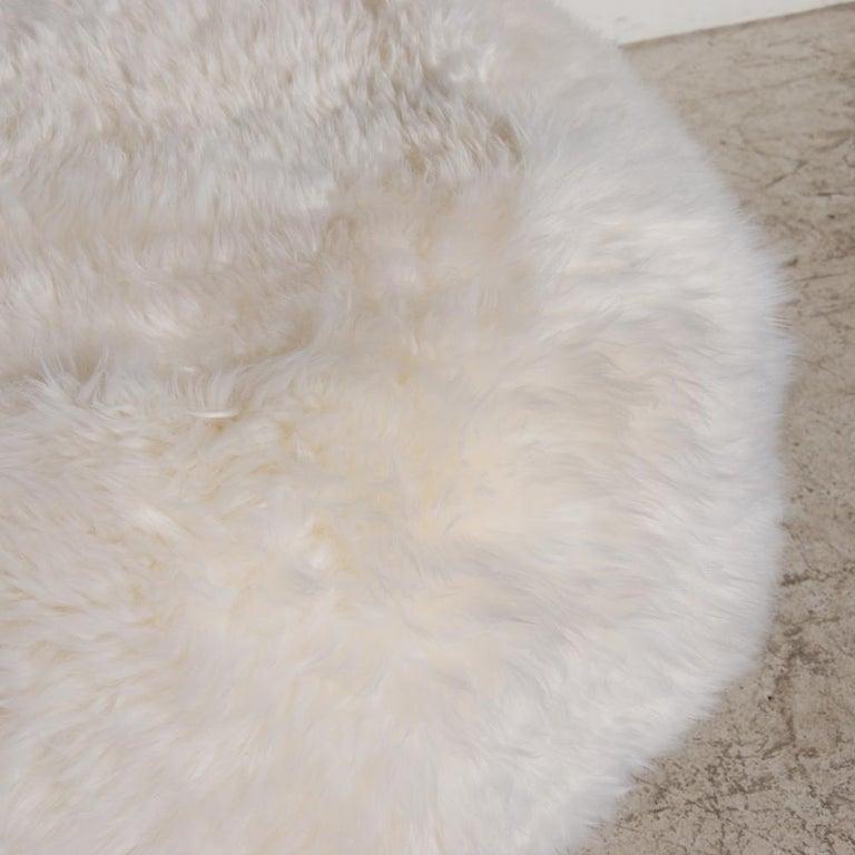 Modern New Zealand Sheepskin Ottoman with Aluminum Legs by Allermuir For Sale