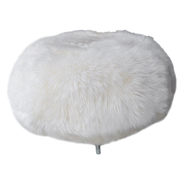 New Zealand Sheepskin Ottoman with Aluminum Legs by Allermuir For Sale