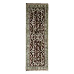 New Zealand Wool Tabriz Design Oriental Wide Runner Rug