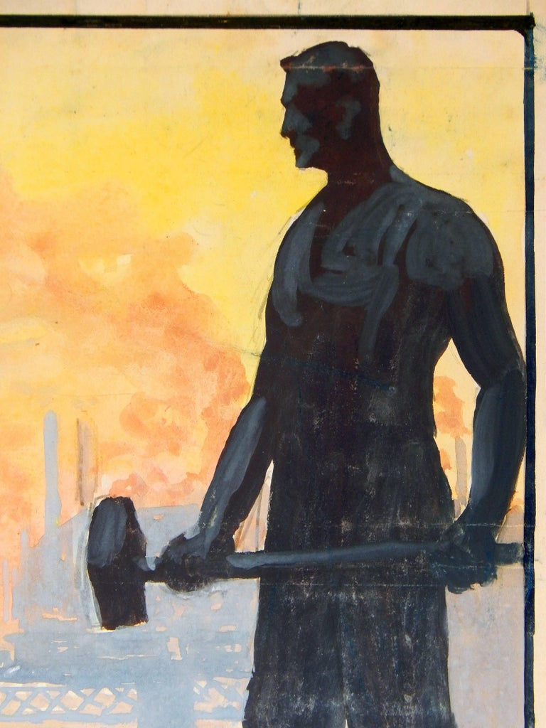 Brilliantly juxtaposing the silhouette of an factory worker, with his sledgehammer, against the backdrop of an industrial landscape in beautiful hues of purple, lemon yellow and tangerine, this painting was executed by Gerrit Beneker for the Newark