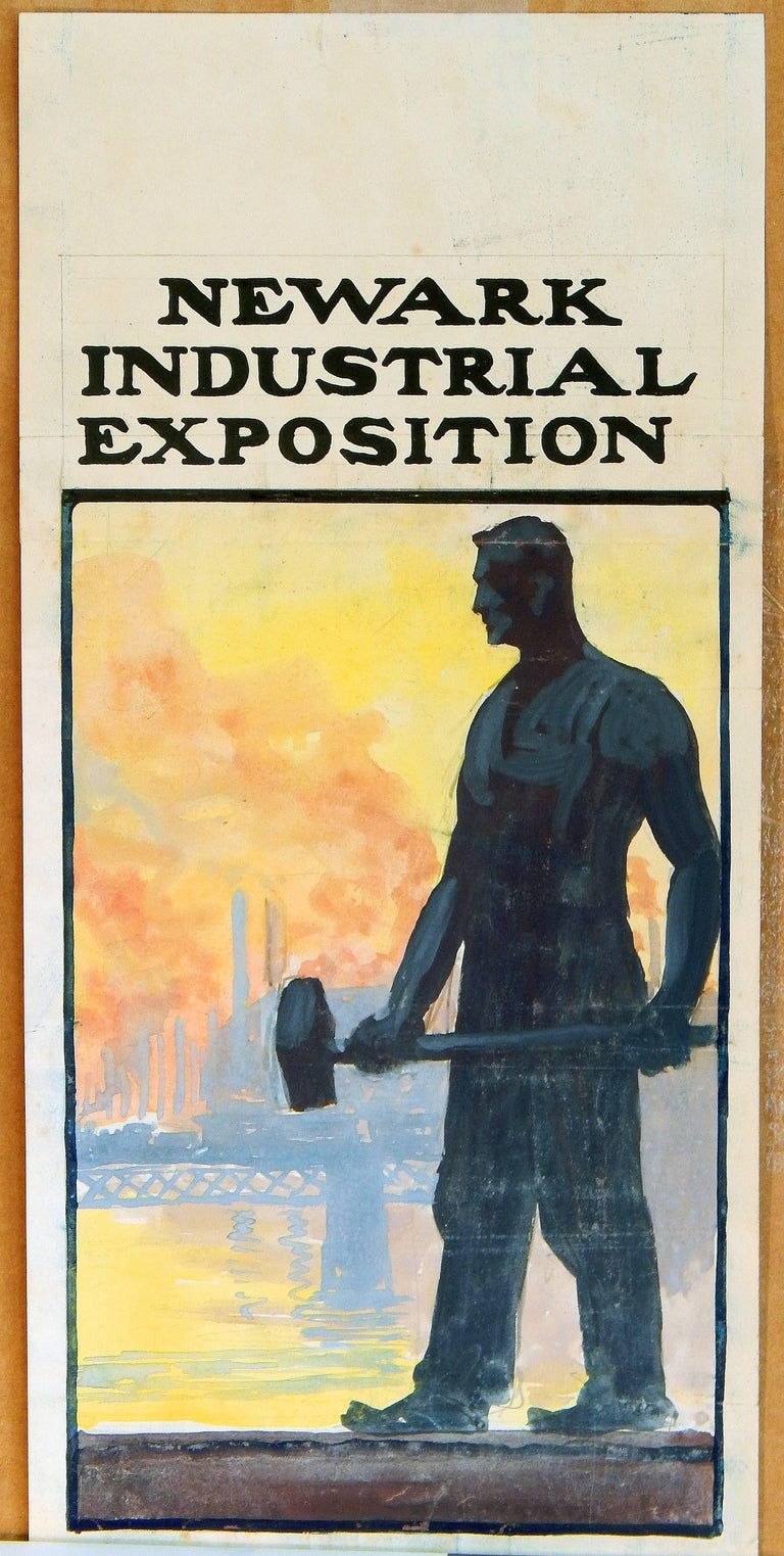 """""""Newark Industrial Exposition"""", Poster Design Celebrating the American Worker In Excellent Condition For Sale In Philadelphia, PA"""