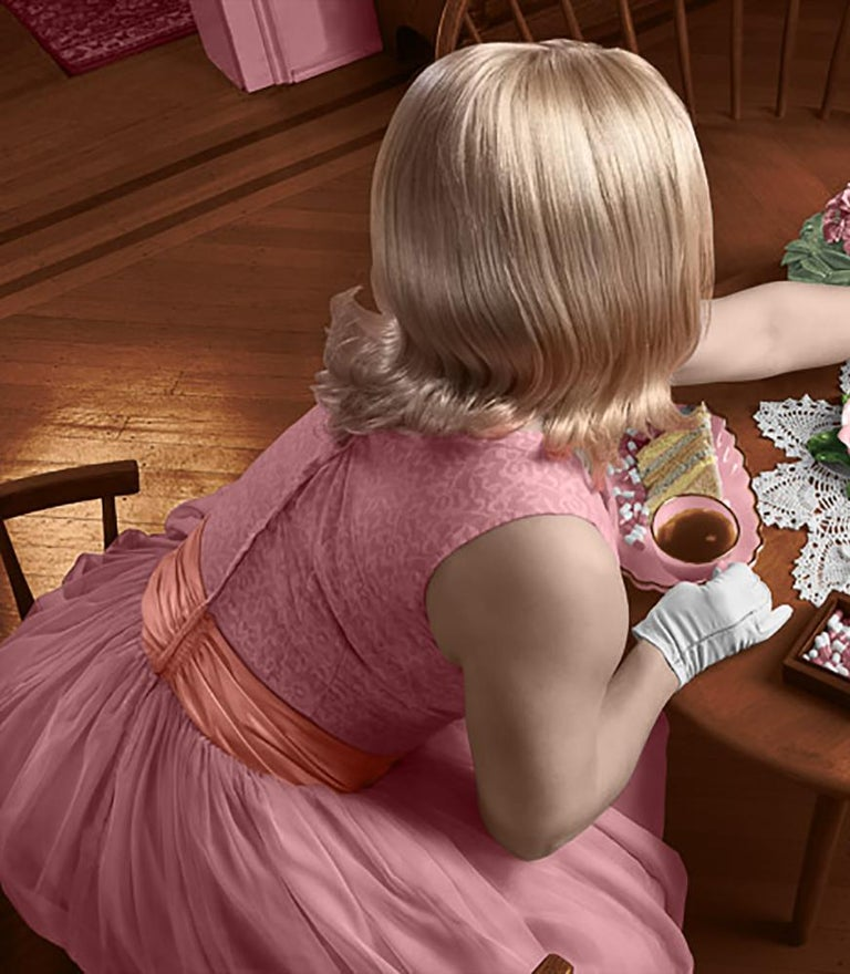Tea and Comfort: Contemporary Figurative Photograph of 1950's Housewife For Sale 2