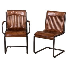 Newbury Leather Dining Room Chairs, 20th Century