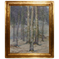 Newcomb Macklin Frame with Impressionistic Landscape Painting, circa 1910