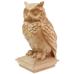 "Newel Post Topper ""Owl"", Carved Wood Finial"