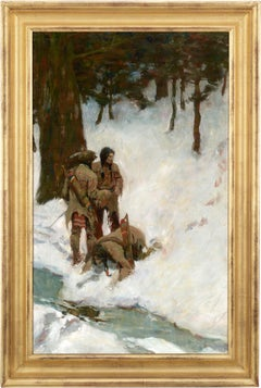 Untitled (Three Indians at a Stream in Snowy Woods) by N.C. Wyeth