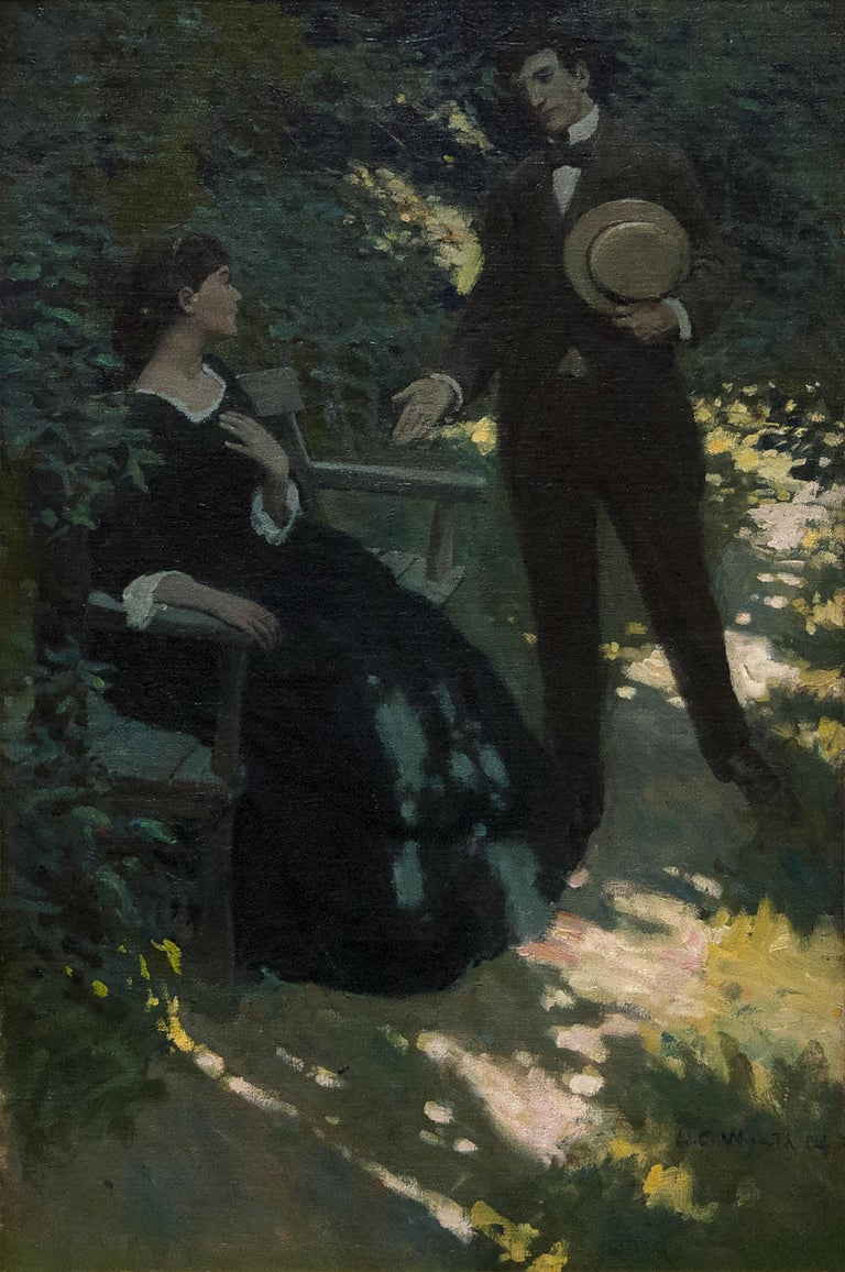 <i>With a Quick, Noiseless Stride, He Crossed the Narrow Space</i>, 1904, offered by Heather James Fine Art