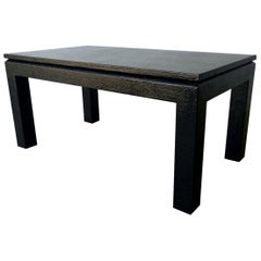 Newly Lacquered in Black Grasscloth Harrison Van Horn Coffee or Cocktail Table