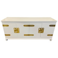 Newly Lacquered White Chinoiserie Style Credenza Sideboard Buffet Server