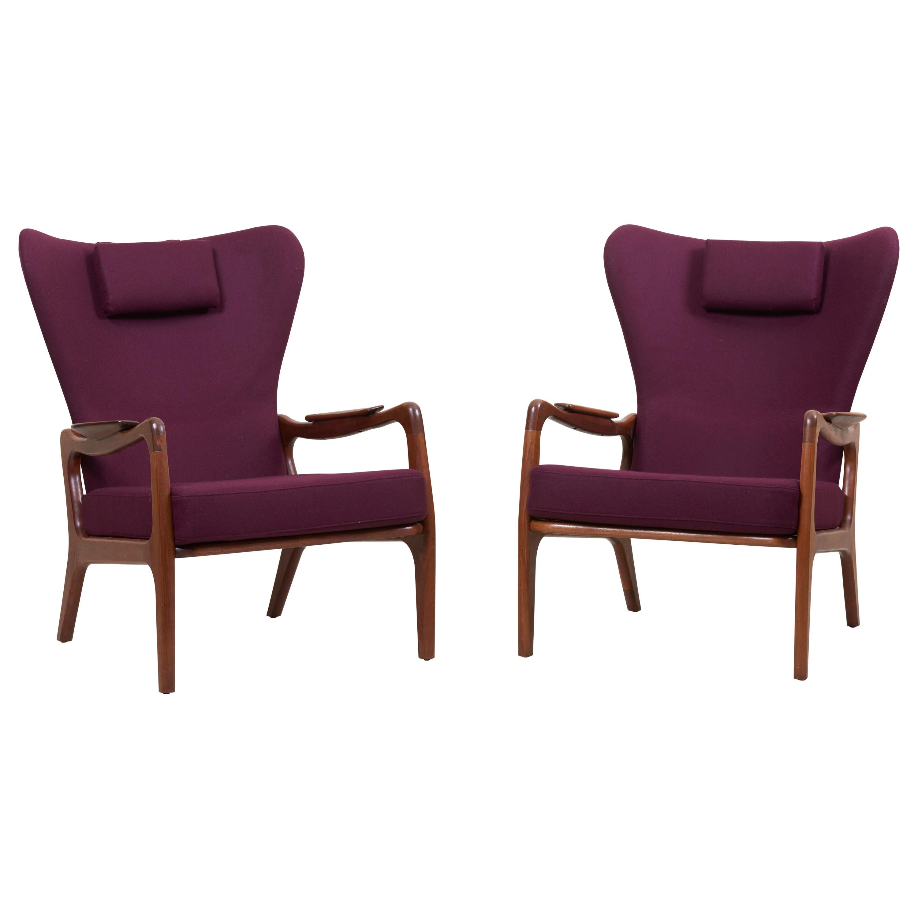 Newly Restored Pair of High Back Wing Lounge Chairs by Adrian Pearsall, 1950s