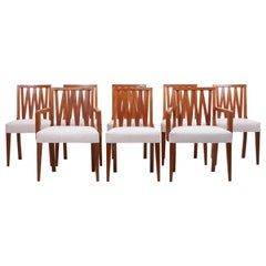 Newly Restored Set of 8 Lattice Back Dining Chairs Attributed to Paul T. Frankl
