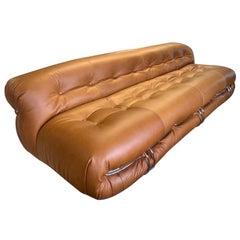 Tobia Scarpa 'Soriana' Sofa, Cassina 1970s, new leather upholstery