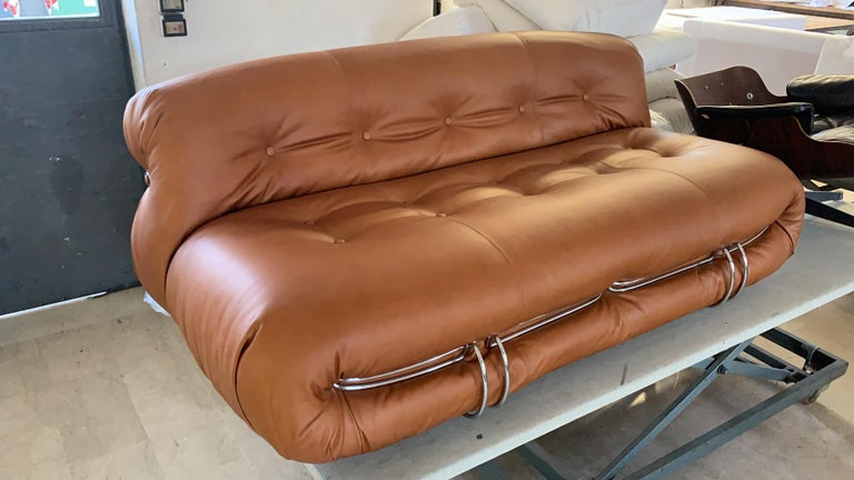 Italian Newly Restored Soriana Sofa by Afra & Tobia Scarpa for Cassina in Leather