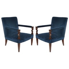"Newly Upholstered Donghia ""Rushmore"" Armchairs by John Hutton, Pair"
