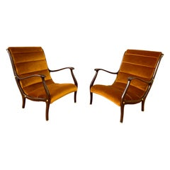 Newly Upholstered Ezio Longhi Lounge Chairs Bronze Velvet