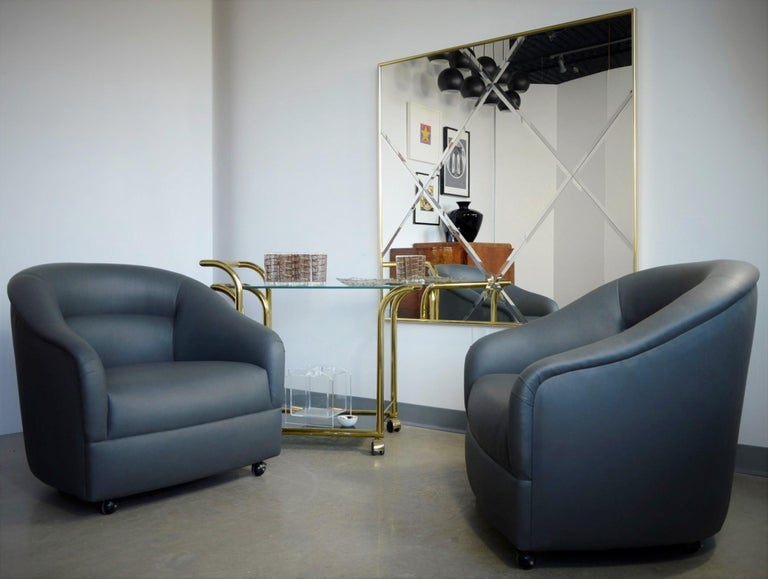 Newly Upholstered in Knoll Whip Gray Barrel Back Club/Armchairs on Casters, Pair For Sale 13