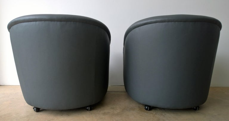 Brass Newly Upholstered in Knoll Whip Gray Barrel Back Club/Armchairs on Casters, Pair For Sale