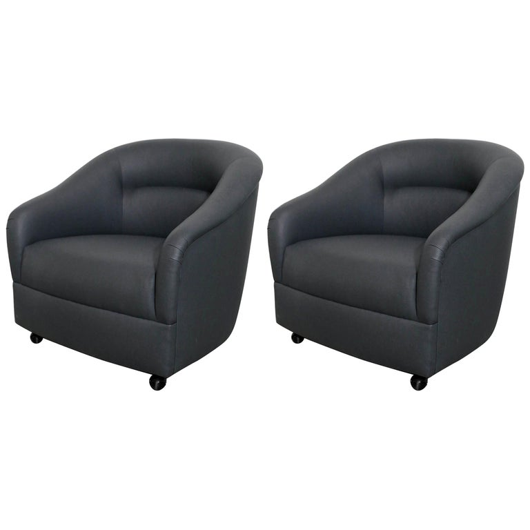 Newly Upholstered in Knoll Whip Gray Barrel Back Club/Armchairs on Casters, Pair For Sale