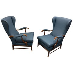 Newly Upholstered Leather Wingback Lounge Chairs by Paolo Buffa, 1960s