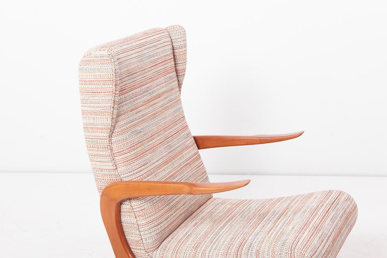 Newly Upholstered Lounge Chair and Stool Set, Italy, 1950s For Sale 2