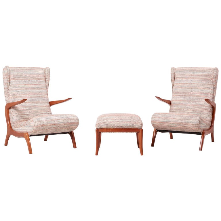 Newly Upholstered Lounge Chair and Stool Set, Italy, 1950s For Sale