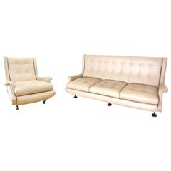"""Newly Upholstered Marco Zanuso """"Regent"""" Sofa and Lounge Chair, Arflex, 1960s"""