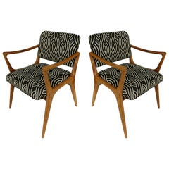 Newly Upholstered Mid-Century Modern Armchairs, Pair