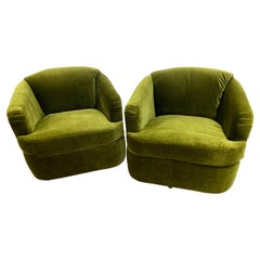 Newly Upholstered Mid Century Olive Green Mohair Swivel Lounge Chairs