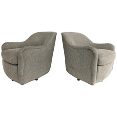 Newly Upholstered Midcentury Swivel Club Chairs with Steel Bases, a Pair