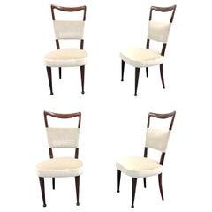 Newly Upholstered Set of Four Osvaldo Borsani Rosewood and Velvet Dining Chairs
