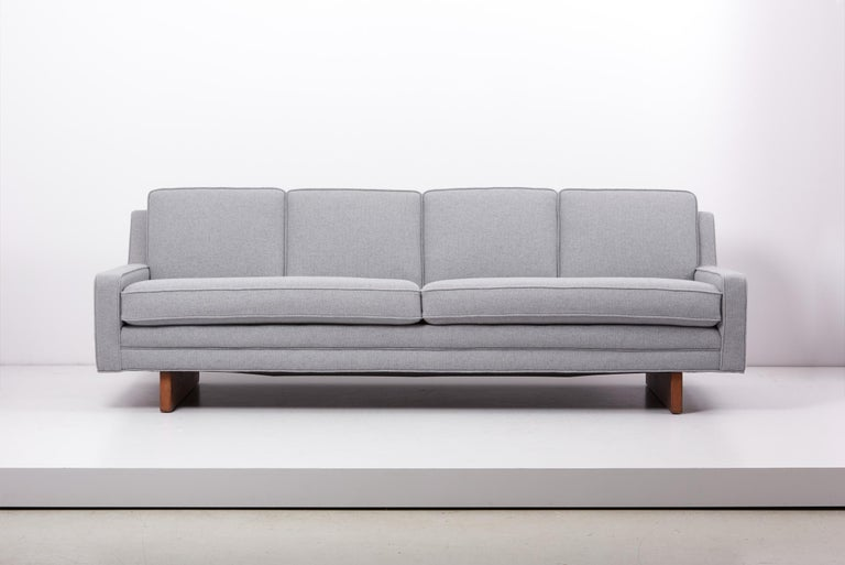 Newly upholstered 1950s sofa on wooden legs by Harvey Probber, US. Fabric by Kvadrat.