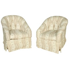 Newly Upholstered Tufted Swivel Chairs in Blithfield Fabric