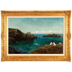 Newlyn School Colourful Seascape with a Resting Figure in Foreground, England