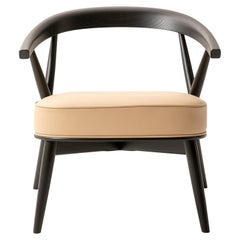 Newood Relax Light Armchair in Beech and Cream Leather by Brogliato Traverso