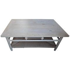 Newport 1980s Style Raw Wood Coffee Table with Rush Shelf