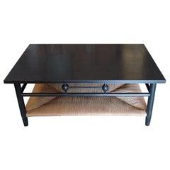 Newport 1980s Style Wood Coffee Table with Rush Shelf