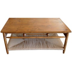 Newport Oak Stained Coffee Table with Rush Shelf