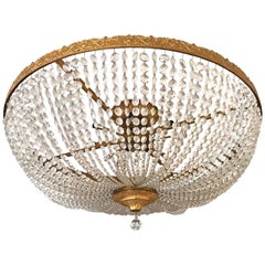 Newport RI Mansion Size Bronze and Crystal Basket Chandelier