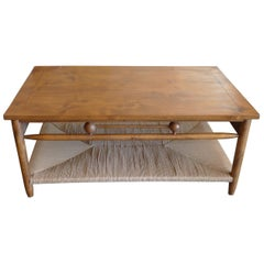 Newport Stained Alder Coffee Table with Rush Shelf