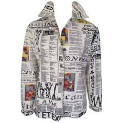 News paper art fashion printed jacket blouse