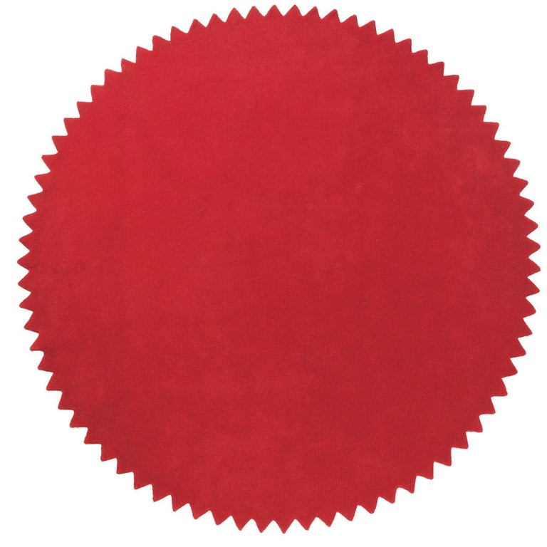 Indian News Red Hand-Tufted Round Wool Small Rug by Marti Guixe For Sale