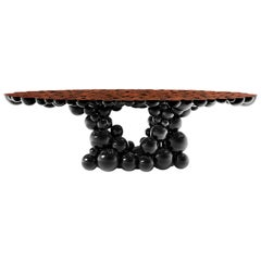 Newton Dining Table in Black Lacquered Aluminum and Walnut Root Veneer Top